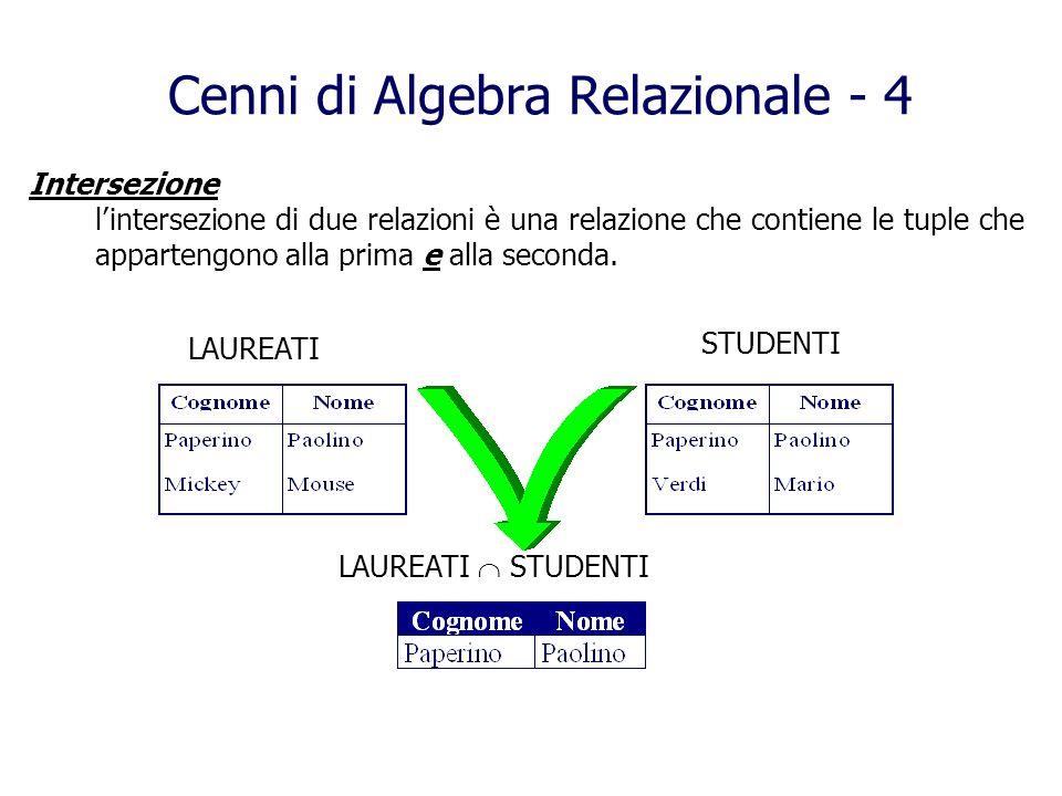 Intersezione lintersezione di due relazioni è una relazione che contiene le tuple che appartengono alla prima e alla seconda. Cenni di Algebra Relazio