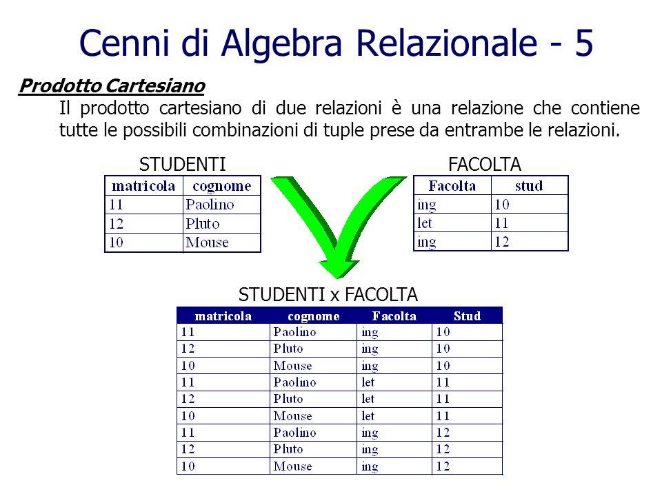Prodotto Cartesiano Il prodotto cartesiano di due relazioni è una relazione che contiene tutte le possibili combinazioni di tuple prese da entrambe le
