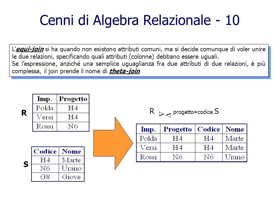Cenni di Algebra Relazionale - 10 R S R progetto=codice S Lequi-join si ha quando non esistono attributi comuni, ma si decide comunque di voler unire
