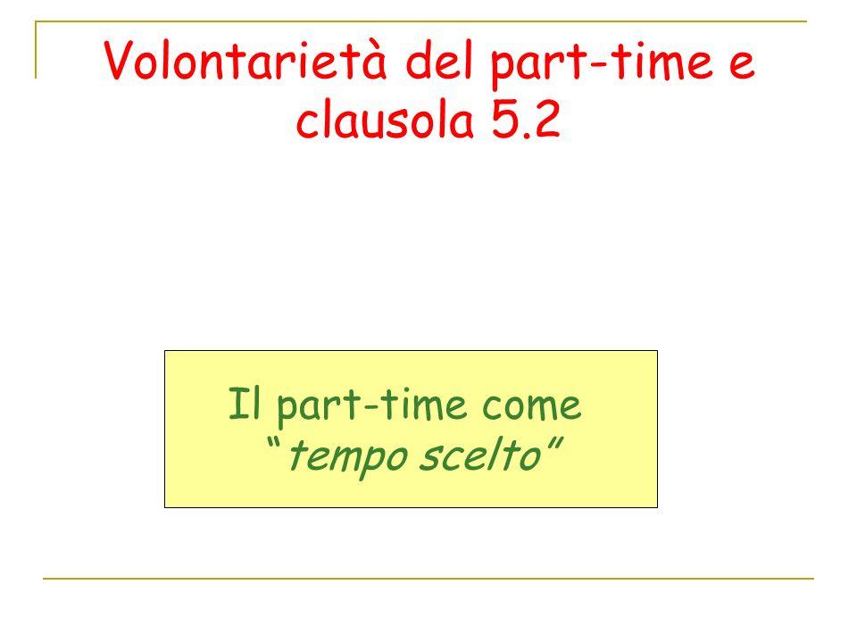 Volontarietà del part-time e clausola 5.2 Il part-time come tempo scelto