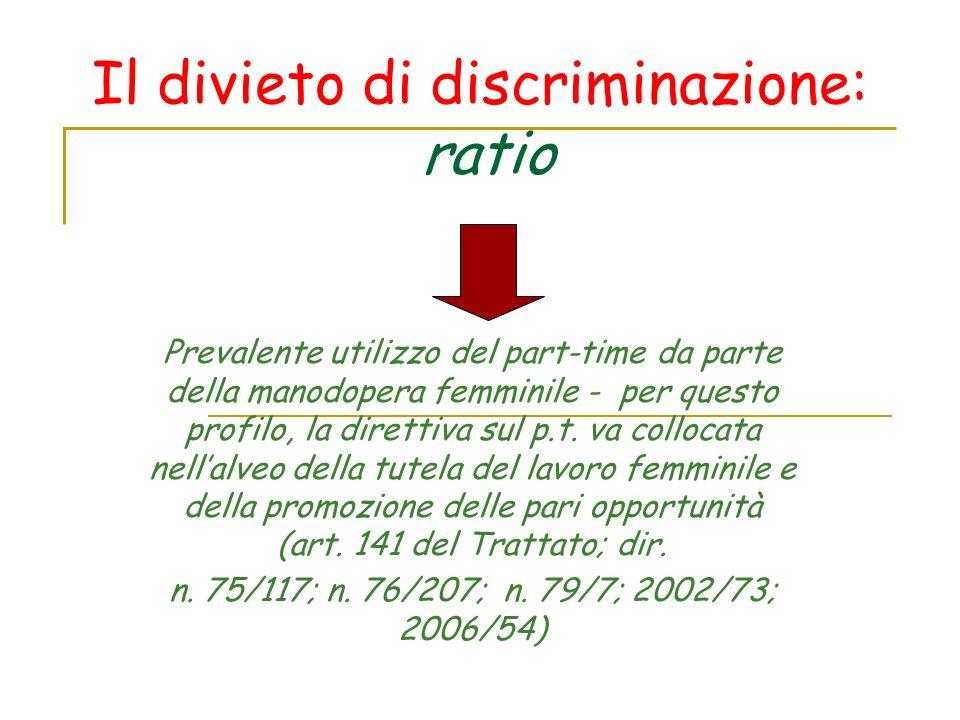 Il divieto di discriminazione: ratio Prevalente utilizzo del part-time da parte della manodopera femminile - per questo profilo, la direttiva sul p.t.