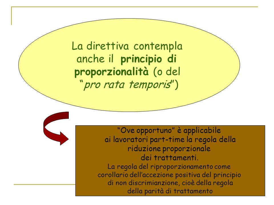 La direttiva contempla anche il principio di proporzionalità (o del pro rata temporis) Ove opportuno è applicabile ai lavoratori part-time la regola della riduzione proporzionale dei trattamenti.