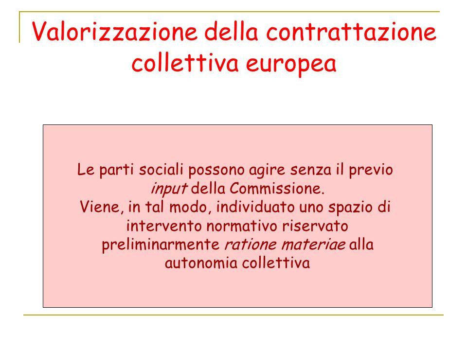 Valorizzazione della contrattazione collettiva europea Le parti sociali possono agire senza il previo input della Commissione.