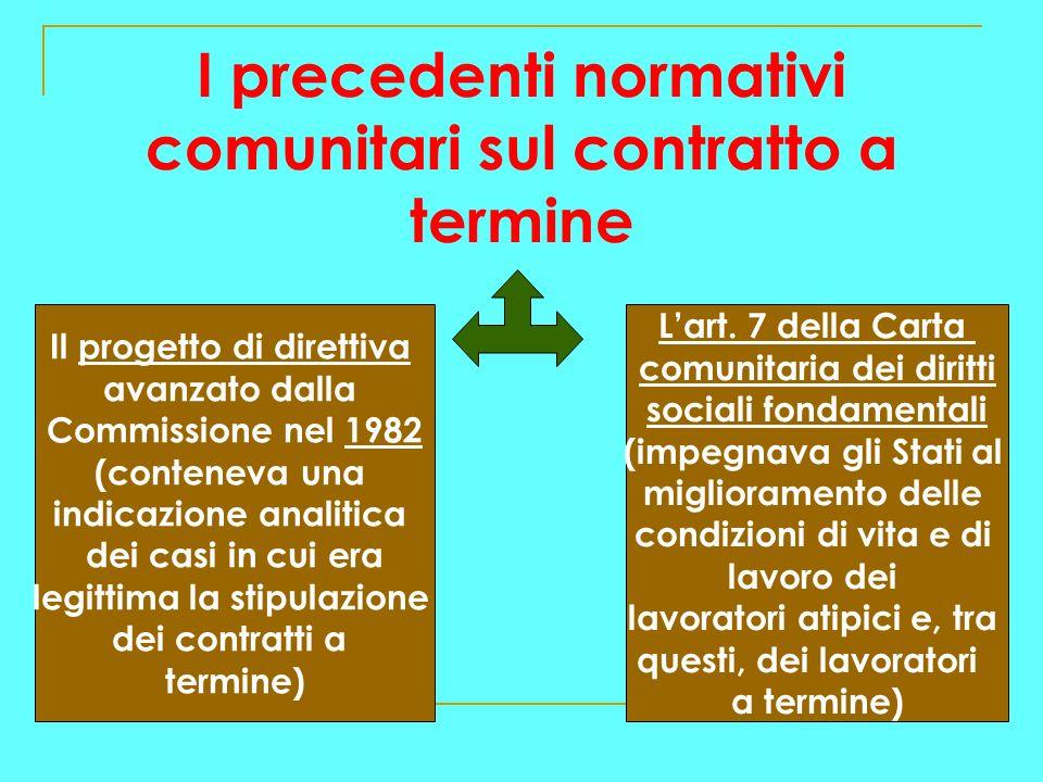 I precedenti normativi comunitari sul contratto a termine Il progetto di direttiva avanzato dalla Commissione nel 1982 (conteneva una indicazione analitica dei casi in cui era legittima la stipulazione dei contratti a termine) Lart.