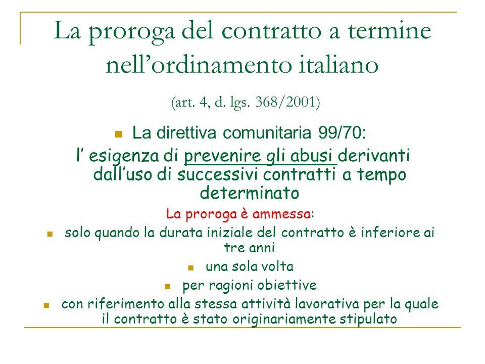 La proroga del contratto a termine nellordinamento italiano (art.