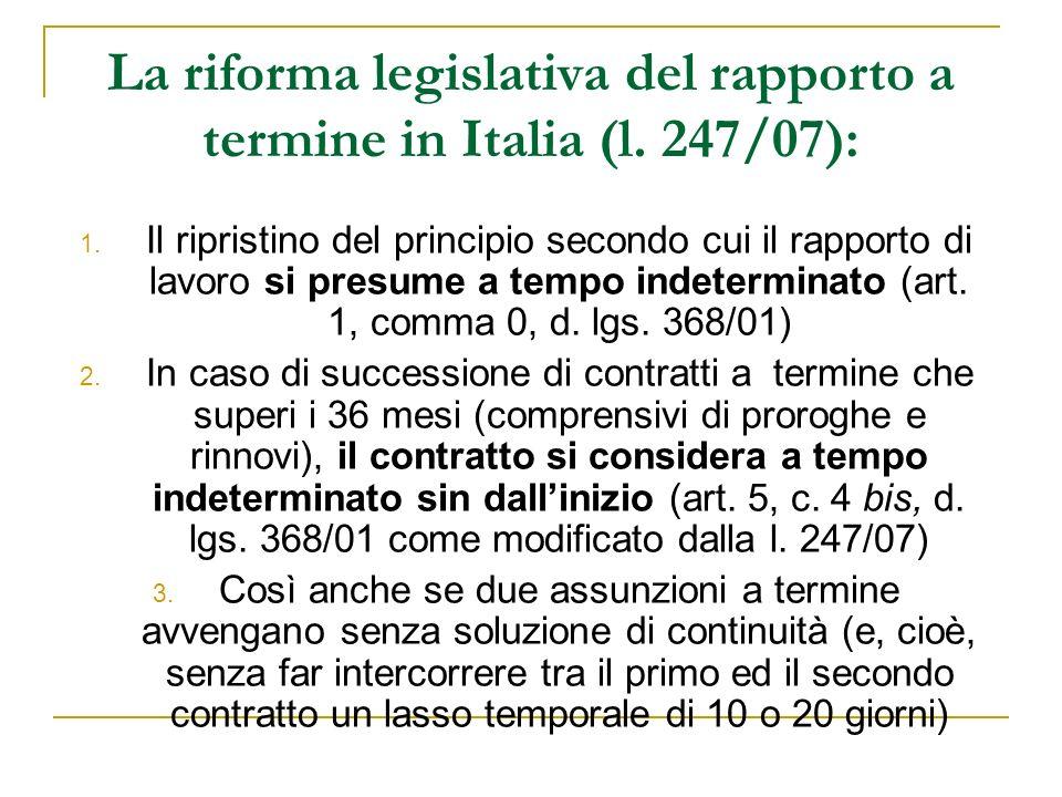 La riforma legislativa del rapporto a termine in Italia (l.