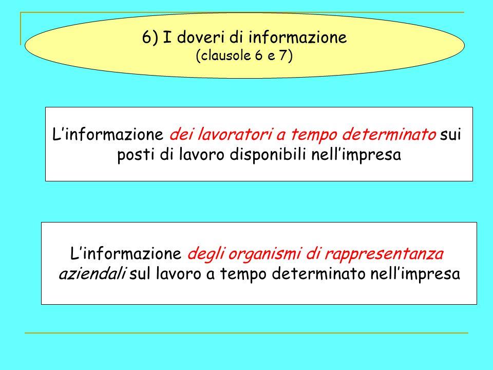 6) I doveri di informazione (clausole 6 e 7) Linformazione dei lavoratori a tempo determinato sui posti di lavoro disponibili nellimpresa Linformazione degli organismi di rappresentanza aziendali sul lavoro a tempo determinato nellimpresa