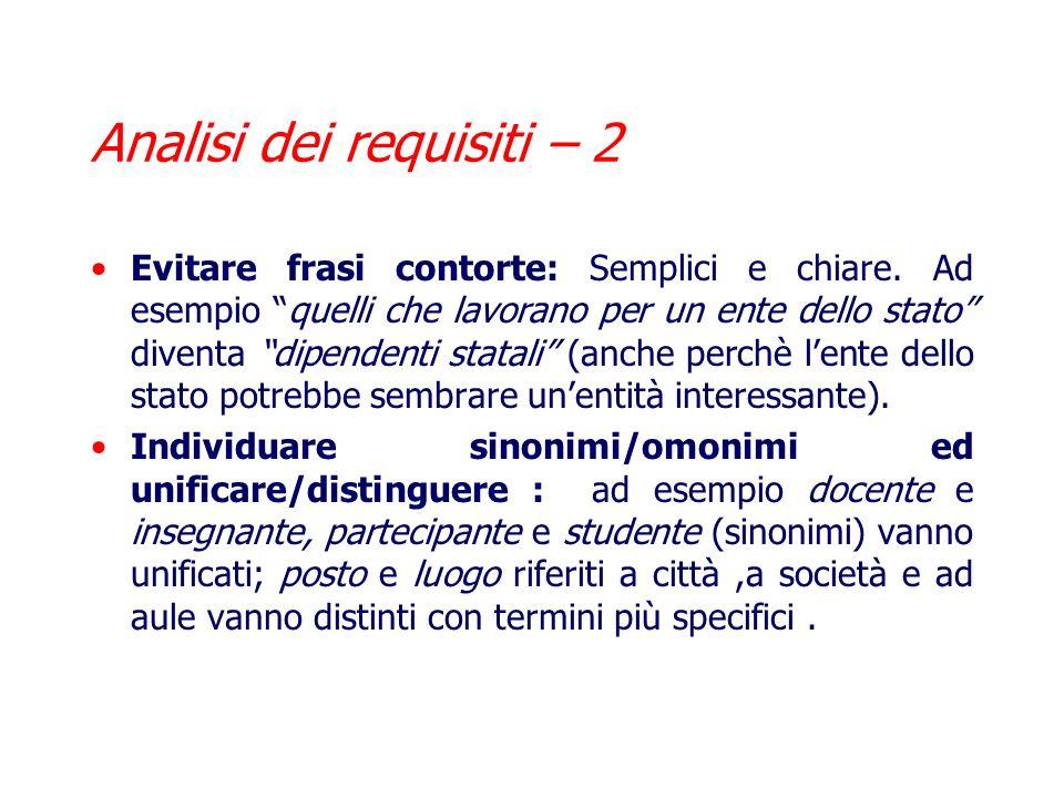 Analisi dei requisiti – 1 Dopo avere effettuato la raccolta, occorre lanalisi, che segue diverse regole: Scegliere il corretto livello di astrazione:
