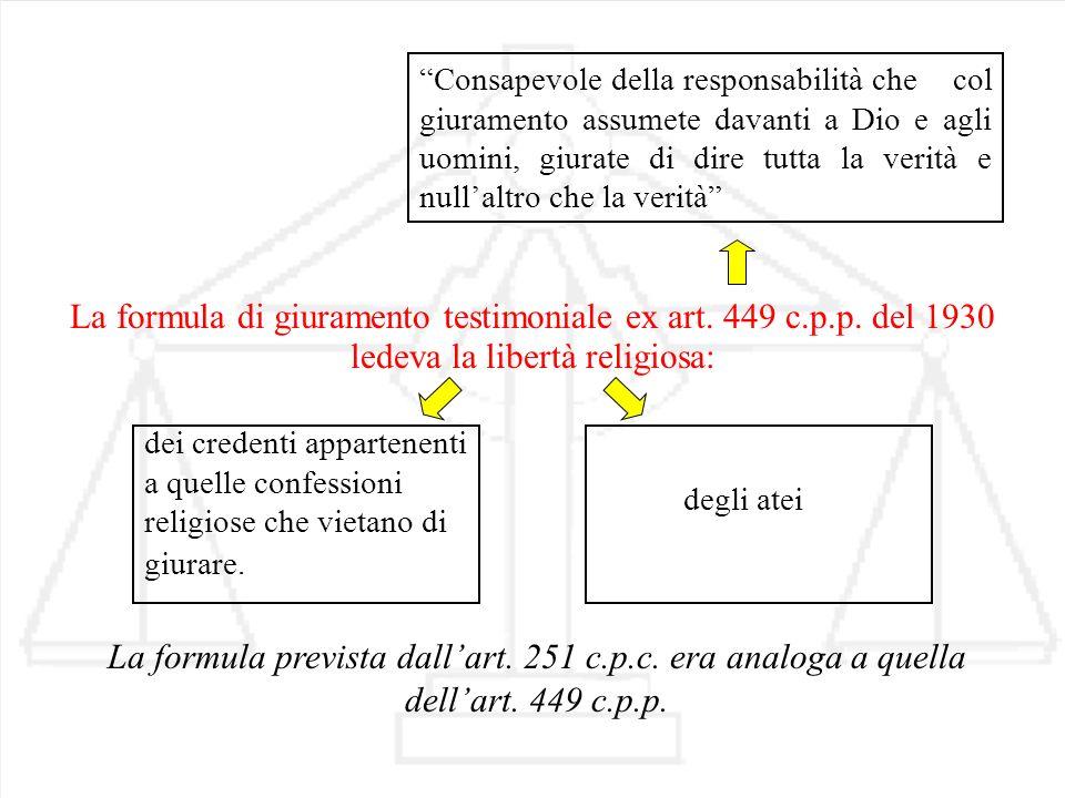 La formula prevista dallart. 251 c.p.c. era analoga a quella dellart. 449 c.p.p. La formula di giuramento testimoniale ex art. 449 c.p.p. del 1930 Con