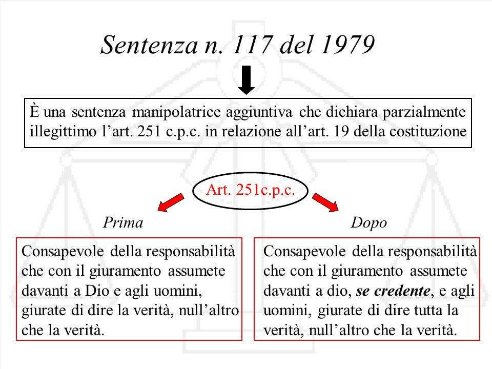 Sentenza n. 117 del 1979 Art. 251c.p.c. È una sentenza manipolatrice aggiuntiva che dichiara parzialmente illegittimo lart. 251 c.p.c. in relazione al