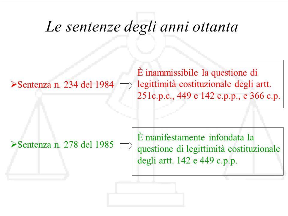 Le sentenze degli anni ottanta Sentenza n. 234 del 1984 È inammissibile la questione di legittimità costituzionale degli artt. 251c.p.c., 449 e 142 c.