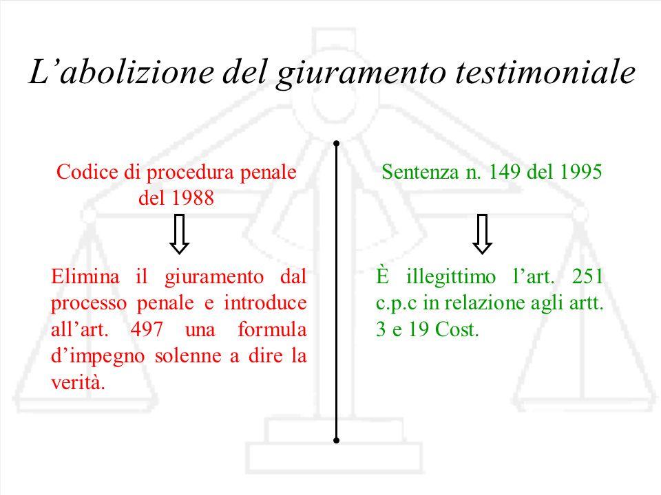 Codice di procedura penale del 1988 Sentenza n. 149 del 1995 Labolizione del giuramento testimoniale È illegittimo lart. 251 c.p.c in relazione agli a