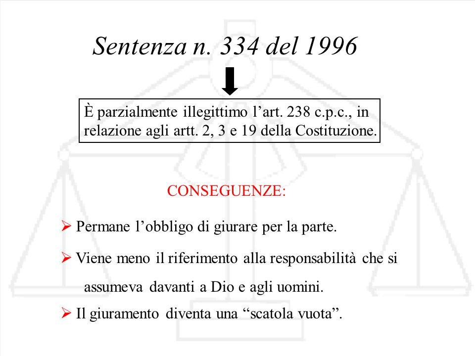 Sentenza n. 334 del 1996 Permane lobbligo di giurare per la parte. È parzialmente illegittimo lart. 238 c.p.c., in relazione agli artt. 2, 3 e 19 dell