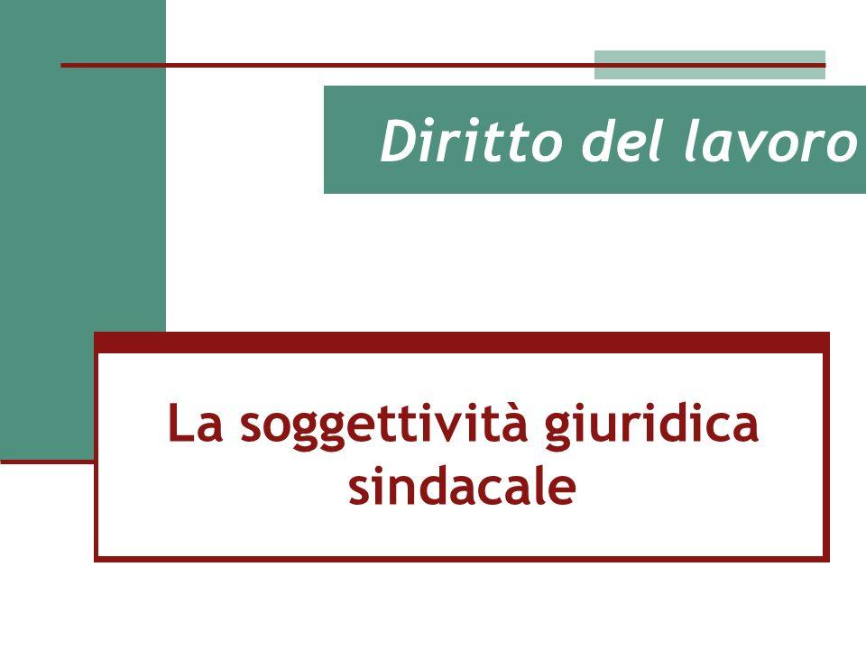 Diritto del lavoro La soggettività giuridica sindacale