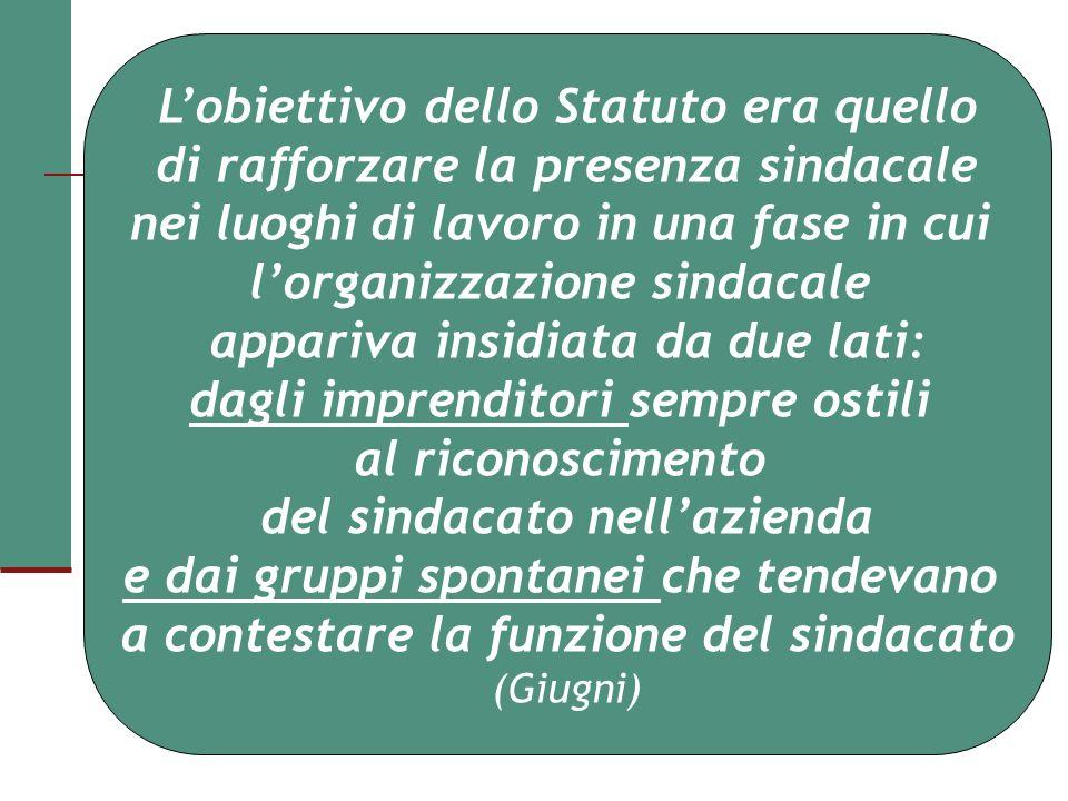 Lobiettivo dello Statuto era quello di rafforzare la presenza sindacale nei luoghi di lavoro in una fase in cui lorganizzazione sindacale appariva ins