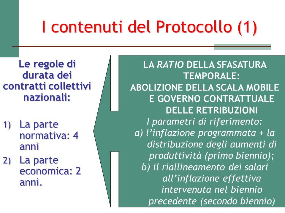 I contenuti del Protocollo (1) Le regole di durata dei contratti collettivi nazionali: 1) La parte normativa: 4 anni 2) La parte economica: 2 anni. LA