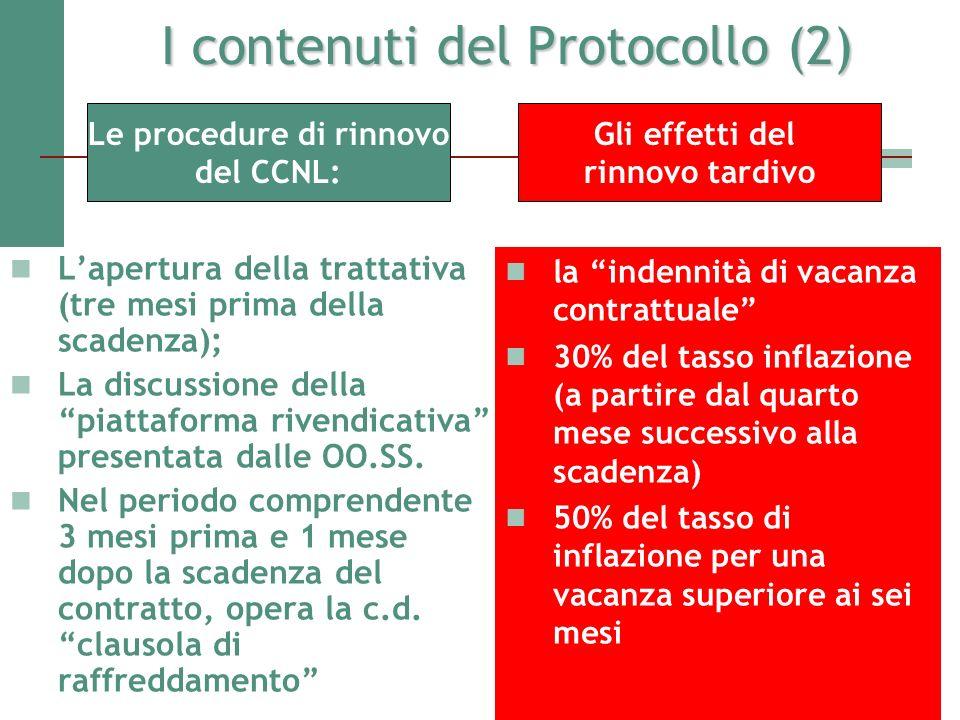 I contenuti del Protocollo (2) Lapertura della trattativa (tre mesi prima della scadenza); La discussione della piattaforma rivendicativa presentata d