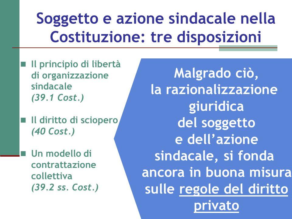 Soggetto e azione sindacale nella Costituzione: tre disposizioni Il principio di libertà di organizzazione sindacale (39.1 Cost.) Il diritto di sciope