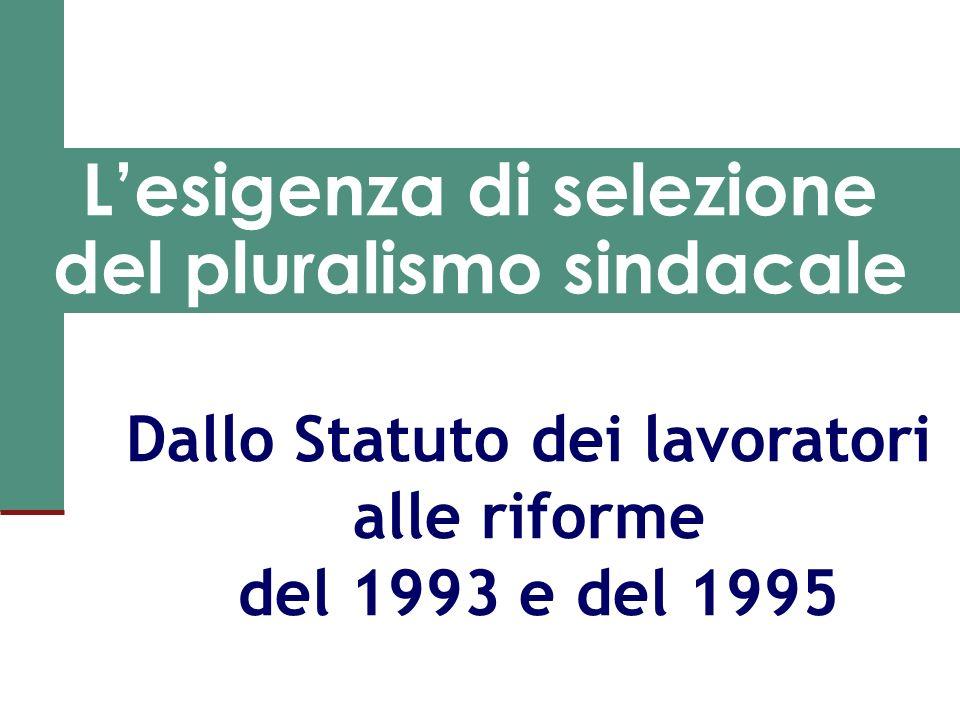 Lesigenza di selezione del pluralismo sindacale Dallo Statuto dei lavoratori alle riforme del 1993 e del 1995
