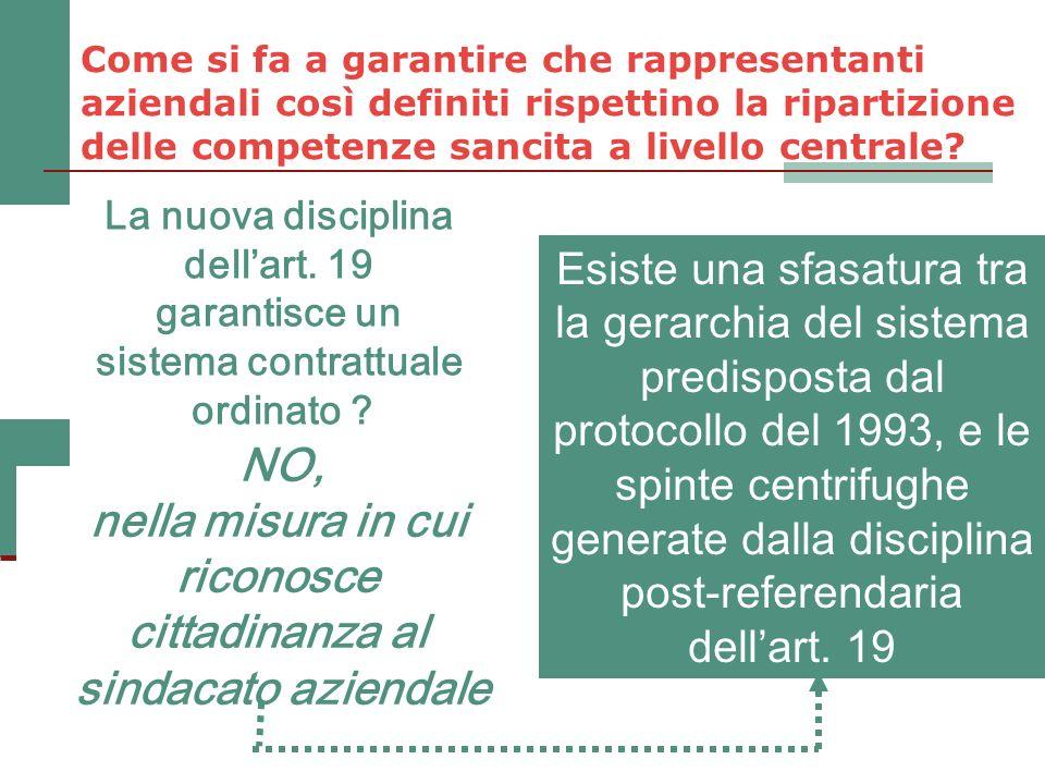 La nuova disciplina dellart. 19 garantisce un sistema contrattuale ordinato ? NO, nella misura in cui riconosce cittadinanza al sindacato aziendale Es