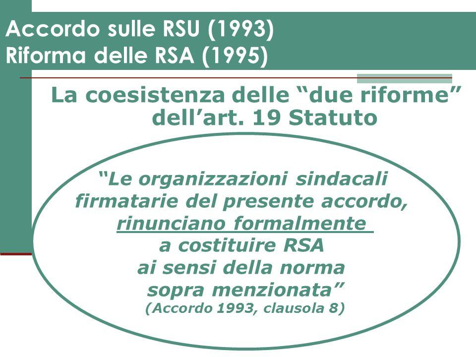Accordo sulle RSU (1993) Riforma delle RSA (1995) La coesistenza delle due riforme dellart. 19 Statuto Le organizzazioni sindacali firmatarie del pres