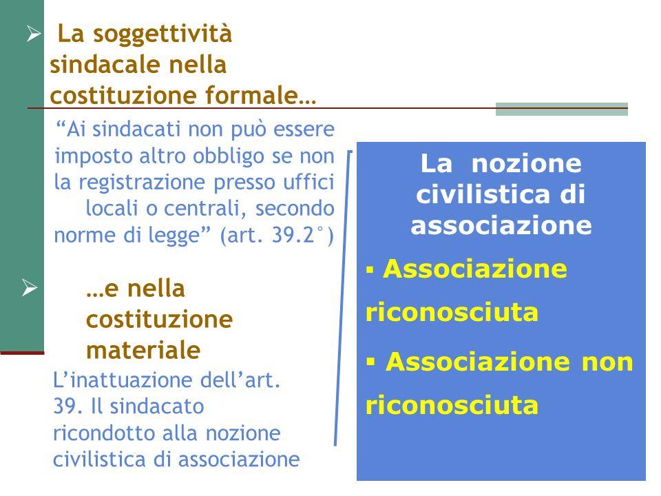 La scelta per la formula dellassociazione non riconosciuta Lordinamento interno e lamministrazione delle associazioni non riconosciute come persone giuridiche sono regolati dagli accordi degli associati(art.