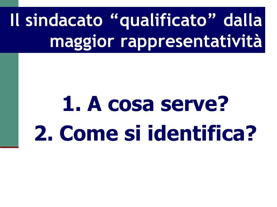 Il sindacato qualificato dalla maggior rappresentatività 1. A cosa serve? 2. Come si identifica?