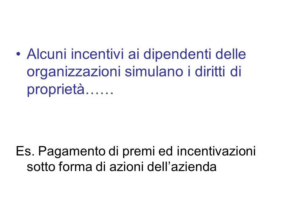 Alcuni incentivi ai dipendenti delle organizzazioni simulano i diritti di proprietà…… Es. Pagamento di premi ed incentivazioni sotto forma di azioni d
