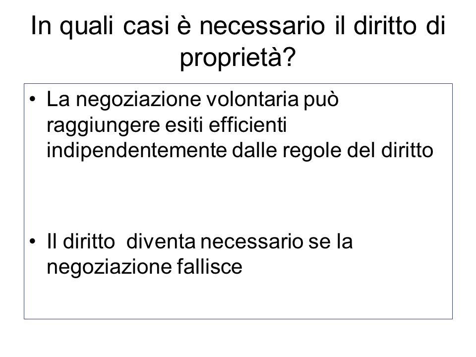 In quali casi è necessario il diritto di proprietà? La negoziazione volontaria può raggiungere esiti efficienti indipendentemente dalle regole del dir