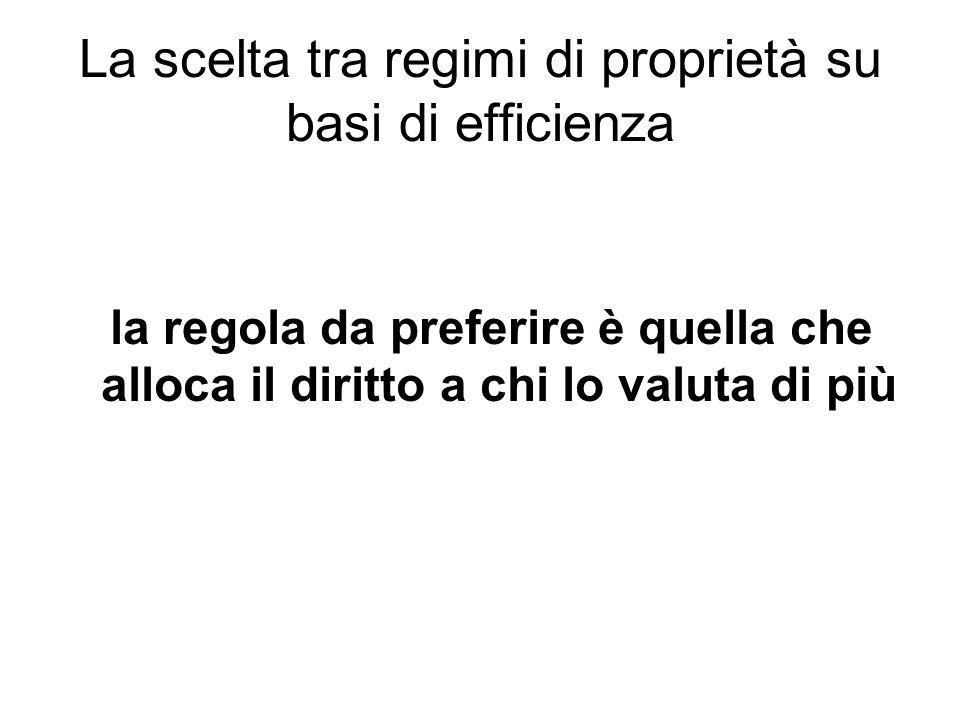 La scelta tra regimi di proprietà su basi di efficienza la regola da preferire è quella che alloca il diritto a chi lo valuta di più