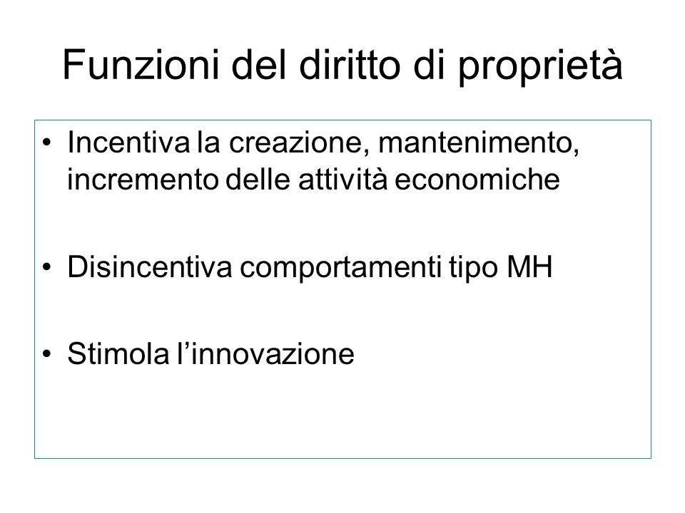 Funzioni del diritto di proprietà Incentiva la creazione, mantenimento, incremento delle attività economiche Disincentiva comportamenti tipo MH Stimol