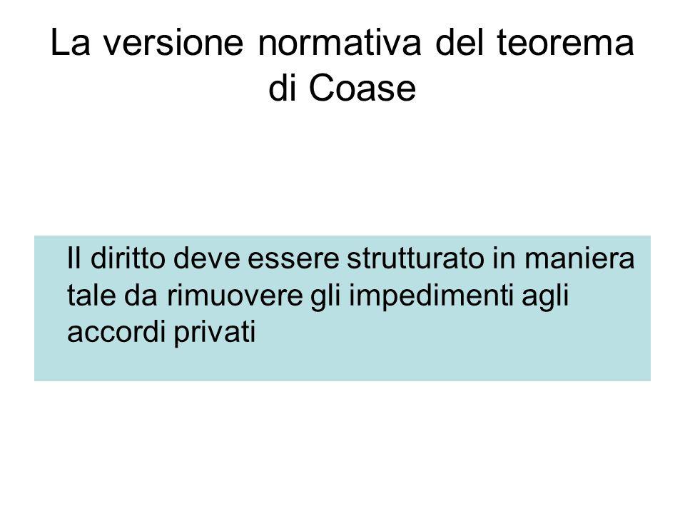 La versione normativa del teorema di Coase Il diritto deve essere strutturato in maniera tale da rimuovere gli impedimenti agli accordi privati