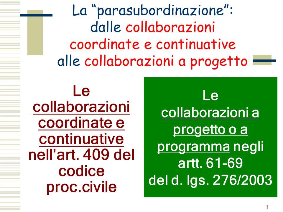 1 Le collaborazioni coordinate e continuative nellart. 409 del codice proc.civile La parasubordinazione: dalle collaborazioni coordinate e continuativ
