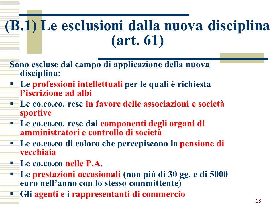 18 (B.1) Le esclusioni dalla nuova disciplina (art. 61) Sono escluse dal campo di applicazione della nuova disciplina: Le professioni intellettuali pe