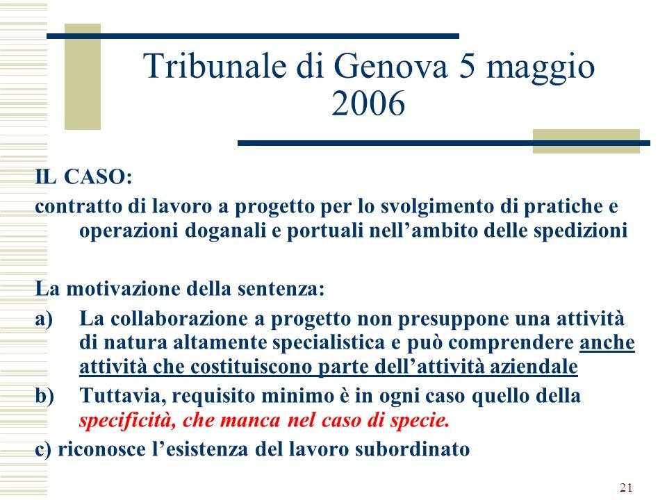 21 Tribunale di Genova 5 maggio 2006 IL CASO: contratto di lavoro a progetto per lo svolgimento di pratiche e operazioni doganali e portuali nellambit