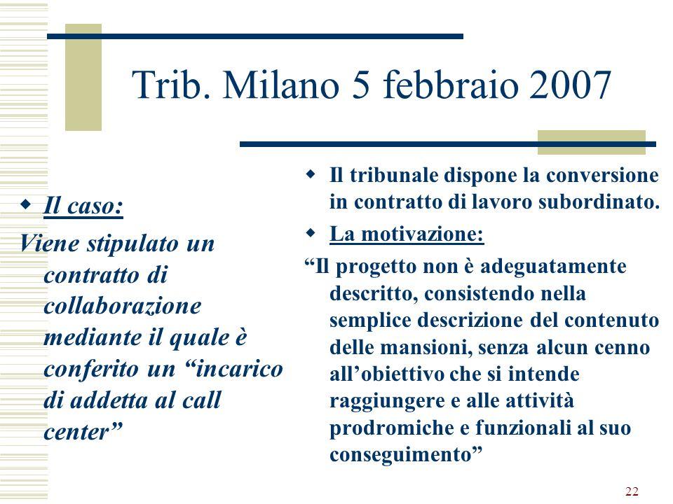 22 Trib. Milano 5 febbraio 2007 Il caso: Viene stipulato un contratto di collaborazione mediante il quale è conferito un incarico di addetta al call c