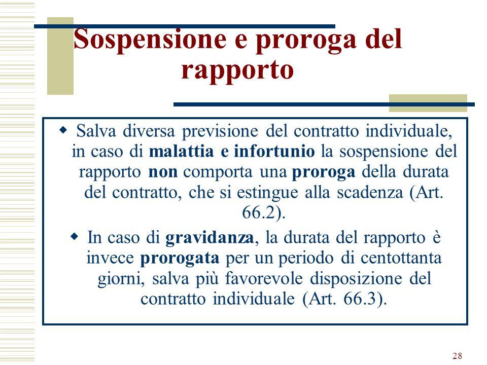 28 Sospensione e proroga del rapporto Salva diversa previsione del contratto individuale, in caso di malattia e infortunio la sospensione del rapporto