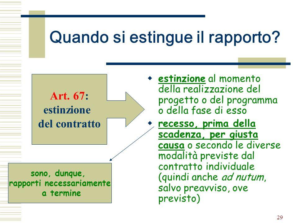 29 Quando si estingue il rapporto? estinzione al momento della realizzazione del progetto o del programma o della fase di esso recesso, prima della sc