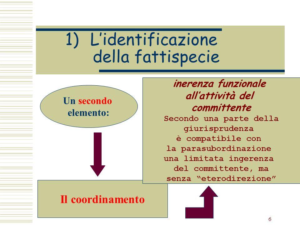 6 1)Lidentificazione della fattispecie Un secondo elemento: Il coordinamento inerenza funzionale allattività del committente Secondo una parte della g