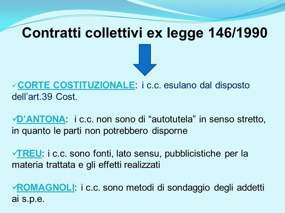 Contratti collettivi ex legge 146/1990 CORTE COSTITUZIONALE: i c.c. esulano dal disposto dellart.39 Cost. DANTONA: i c.c. non sono di autotutela in se