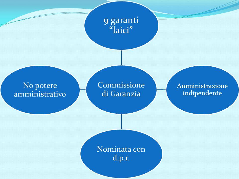 Commissione di Garanzia 9 garantilaici Amministrazione indipendente Nominata con d.p.r. No potere amministrativo