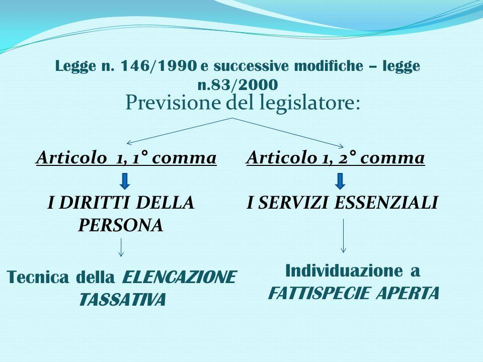 Legge n. 146/1990 e successive modifiche – legge n.83/2000 Previsione del legislatore: Articolo 1, 1° comma I DIRITTI DELLA PERSONA Tecnica della ELEN