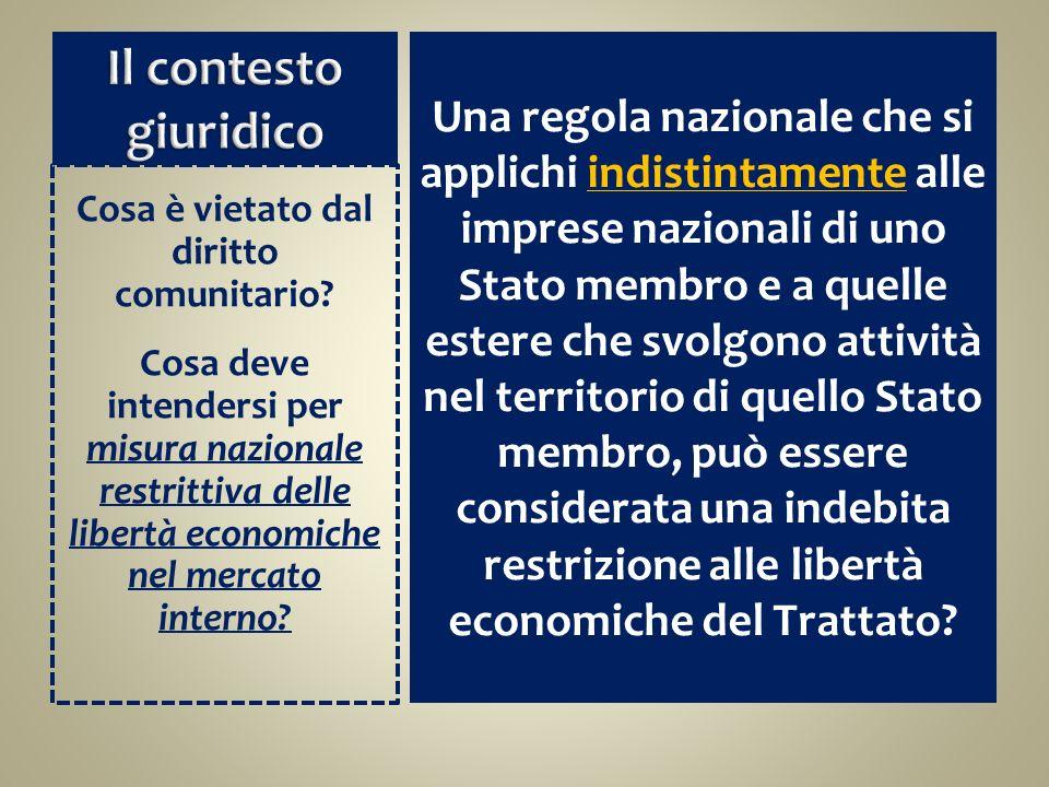 Una regola nazionale che si applichi indistintamente alle imprese nazionali di uno Stato membro e a quelle estere che svolgono attività nel territorio