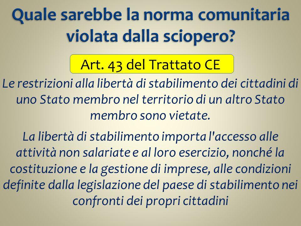 Art. 43 del Trattato CE Le restrizioni alla libertà di stabilimento dei cittadini di uno Stato membro nel territorio di un altro Stato membro sono vie