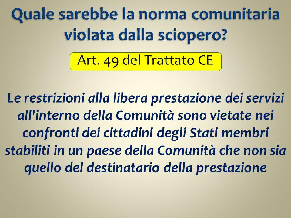 Art. 49 del Trattato CE Le restrizioni alla libera prestazione dei servizi all'interno della Comunità sono vietate nei confronti dei cittadini degli S