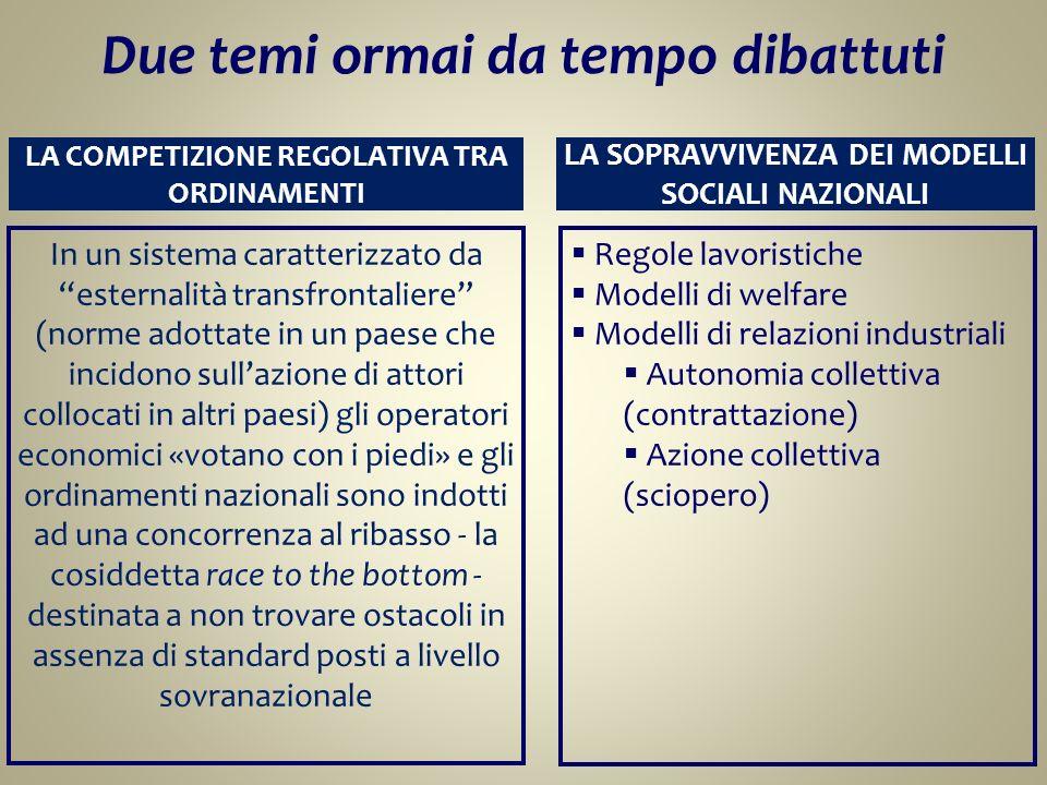 LA COMPETIZIONE REGOLATIVA TRA ORDINAMENTI In un sistema caratterizzato da esternalità transfrontaliere (norme adottate in un paese che incidono sulla