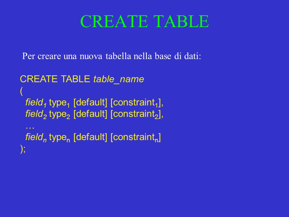 CREATE TABLE CREATE TABLE table_name ( field 1 type 1 [default] [constraint 1 ], field 2 type 2 [default] [constraint 2 ], … field n type n [default] [constraint n ] ); Per creare una nuova tabella nella base di dati: