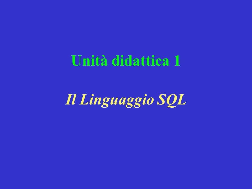 Unità didattica 1 Il Linguaggio SQL
