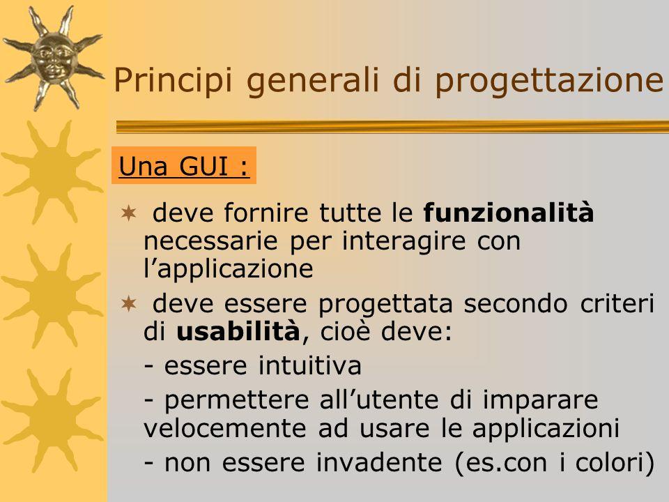 Principi generali di progettazione deve fornire tutte le funzionalità necessarie per interagire con lapplicazione deve essere progettata secondo crite
