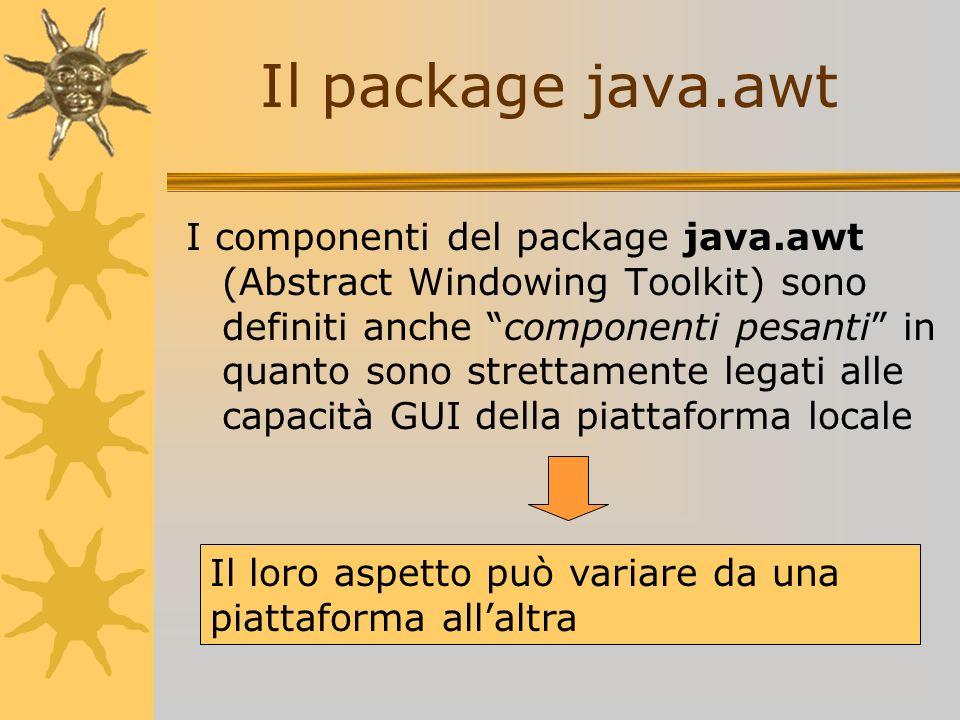 I componenti del package java.awt (Abstract Windowing Toolkit) sono definiti anche componenti pesanti in quanto sono strettamente legati alle capacità